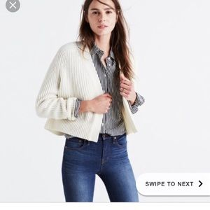 cropped cream wool madewell cardigan